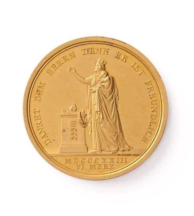 Goldene Medaille auf die Geburt des Kronprinzen Karl von Württemberg, 1823; erworben mit Lottomitteln 2012. Eine ausführliche Beschreibung finden Sie hier.