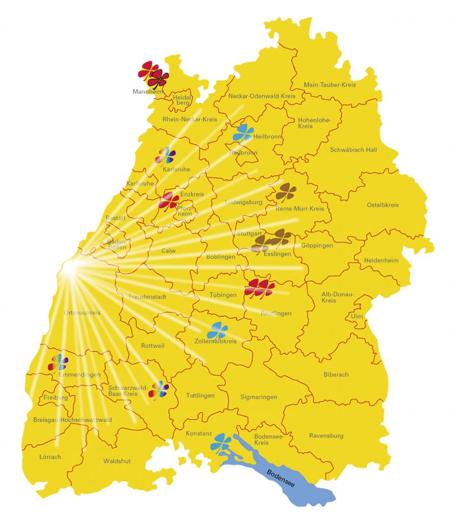 Millionäre auf der Sonnenseite I www.träumdichlotto.de I Auf der Landkarte des Glücks sind alle Millionengewinner 2017 verzeichnet. Die Sonnenseite des Landes ist auf den ersten Blick zu erkennen.