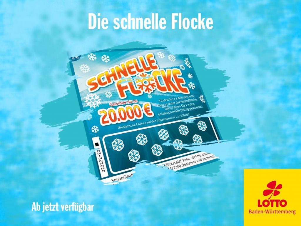 Die Lose sind los. Ein Neues mischt mit. Die schnelle Flocke I www.träumdichlotto.de I Um auf das neue Los aufmerksam zu machen werden Plakate und Aufstecker entworfen. Und natürlich auch Grafikvorlagen für die Social Media Kanäle.