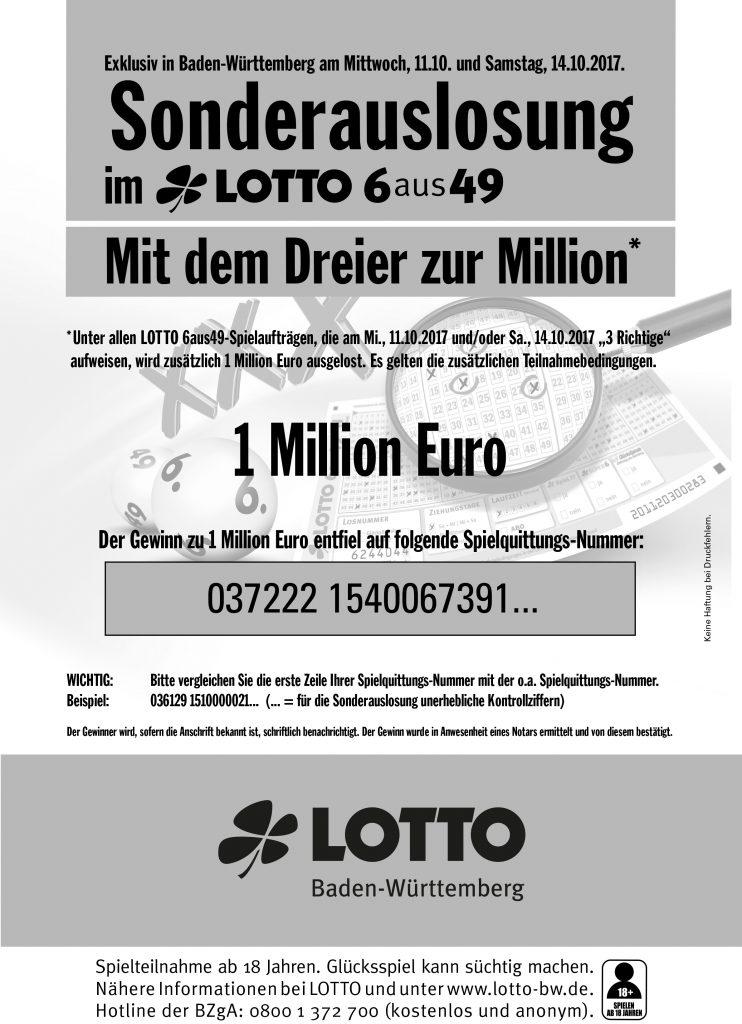 Lotto-Millionär mit 3 Richtigen I www.träumdichlotto.de I Gewinnerliste Sonderauslosung Lotto Baden-Württemberg
