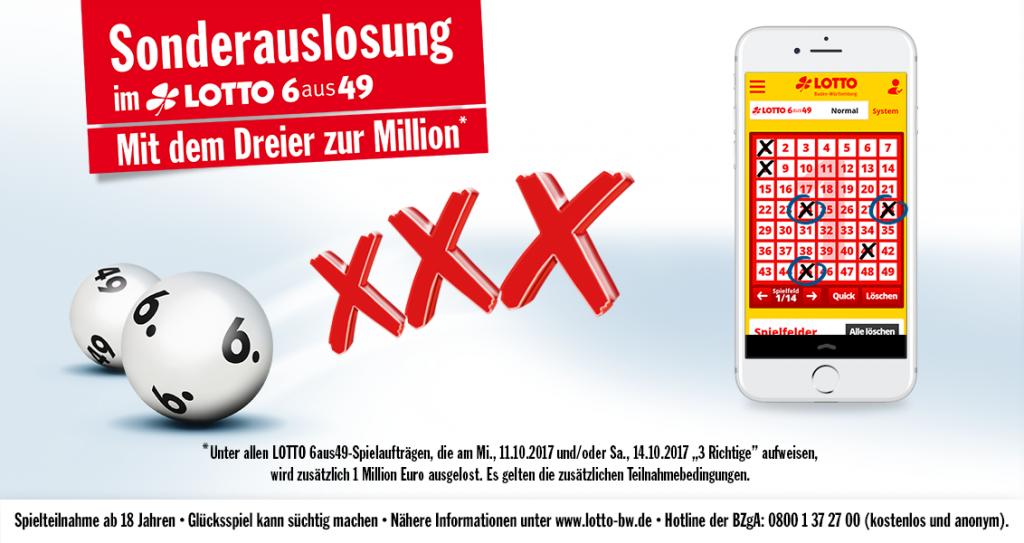 Lotto-Millionär mit 3 Richtigen I www.träumdichlotto.de I Hinweis auf die Sonderauslosung