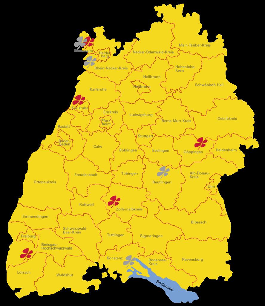 Neun Mal das ganz große Glück: 2018 gab es in Baden-Württemberg bislang vier Millionengewinne im LOTTO 6aus49 (rote Kleeblätter) und fünf im Eurojackpot (graue Kleeblätter). www.traeumdichlotto.de Corporate Blog von Lotto Baden-Württemberg