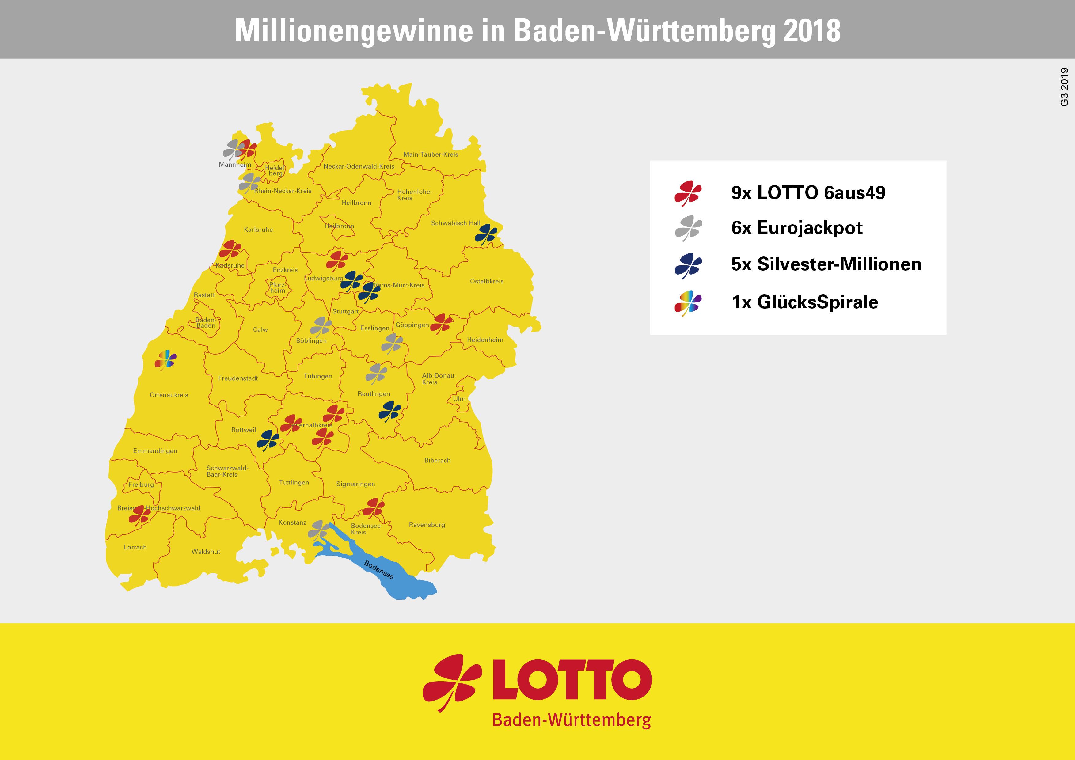 Die Lotto-Millionengewinne 2018 in Baden-Württemberg.