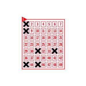 Spielfeld mit den angekreuzten Zahlen 1-8-31-34-43-45