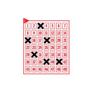 Spielfeld mit den angekreuzten Zahlen 3-15-18-30-39-41
