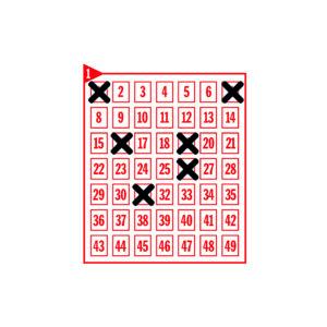 Spielfeld mit den angekreuzten Zahlen 1-7-16-19-26-31